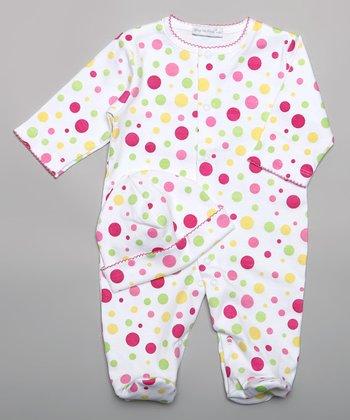 White & Pink Polka Dot Playsuit - Infant