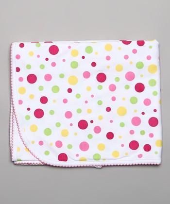 White & Pink Polka Dot Receiving Blanket