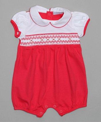 Red & White Smocked Romper - Infant