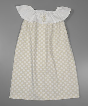 Cream Polka Dot Initial Yoke Dress - Infant, Toddler & Girls