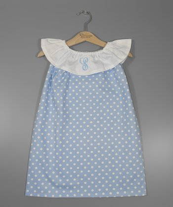 Blue Dot Polka Dot Initial Yoke Dress - Infant, Toddler & Girls