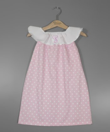 Pink Dot Polka Dot Initial Yoke Dress - Infant, Toddler & Girls