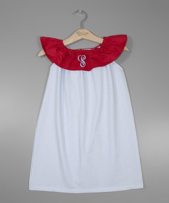 Blue & Red Polka Dot Initial Yoke Dress - Infant, Toddler & Girls