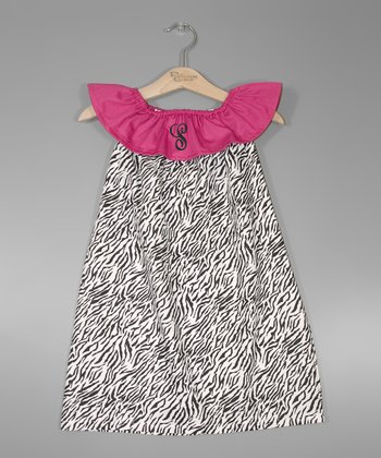Zebra & Hot Pink Initial Yoke Dress - Infant, Toddler & Girls