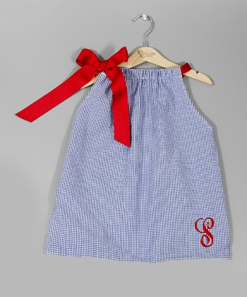 Blue Gingham & Red Bow Initial Dress - Infant, Toddler & Girls