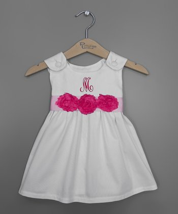 Hot Pink Rosette Sash Initial Jumper - Infant, Toddler & Girls