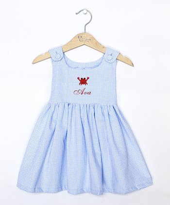 Blue Gingham Crab Personalized Dress - Initial, Toddler & Girls