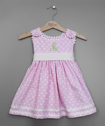Pink Polka Dot Initial Sash Dress - Infant, Toddler & Girls