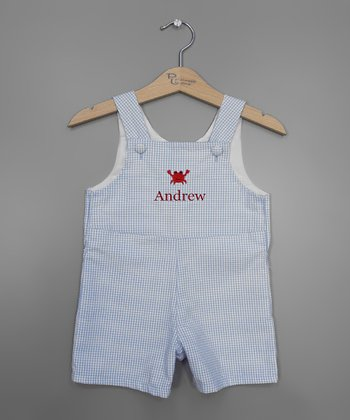 Light Blue Crab Personalized Shortalls - Infant