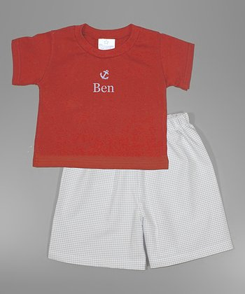 Red Anchor Personalized Tee & Shorts - Infant, Toddler & Boys