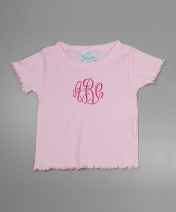 Pink Lettuce-Edge Monogram Tee - Toddler & Girls