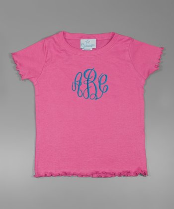 Raspberry & Blue Lettuce-Edge Monogram Tee - Toddler & Girls