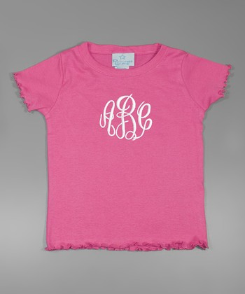 Raspberry & White Lettuce-Edge Monogram Tee - Toddler & Girls