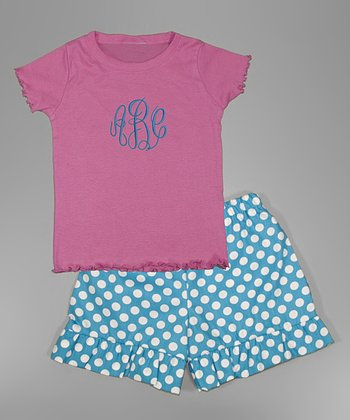 Pink Monogram Tee & Turquoise Polka Dot Shorts - Toddler & Girls