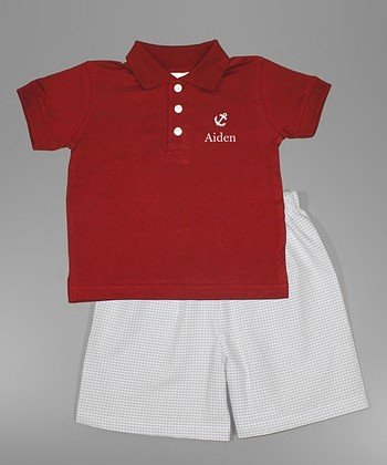 Red Anchor Personalized Polo & White Shorts - Toddler & Boys