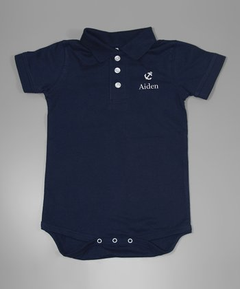 Navy Anchor Personalized Polo Bodysuit - Infant