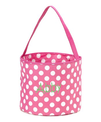 Pink Polka Dot Personalized Easter Bucket