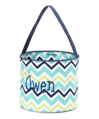 Blue & Green Zigzag Personalized Easter Bucket