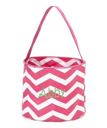 Pink & White Zigzag Personalized Easter Bucket