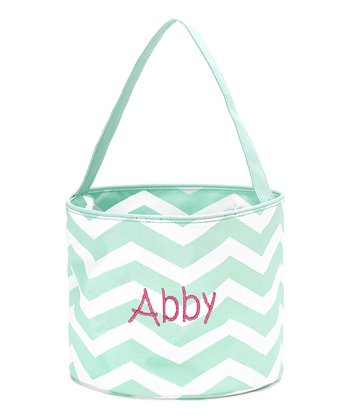 Mint & White Zigzag Personalized Easter Bucket