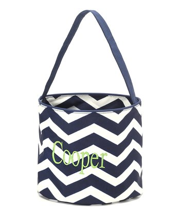 Navy & White Zigzag Personalized Easter Bucket