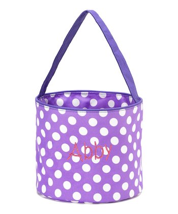 Purple & White Polka Dot Personalized Easter Bucket