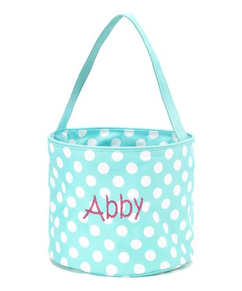 Aqua & White Polka Dot Personalized Easter Bucket