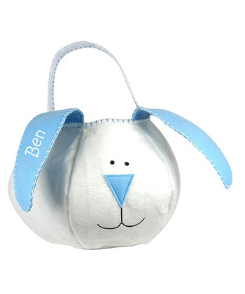 White & Blue Personalized Easter Bunny Basket