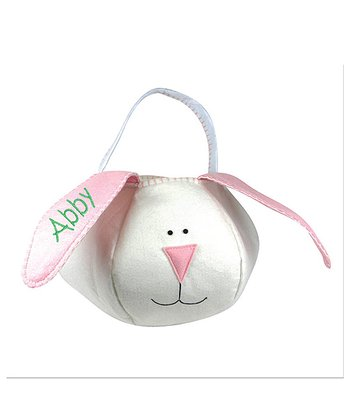 White & Pink Personalized Easter Bunny Basket