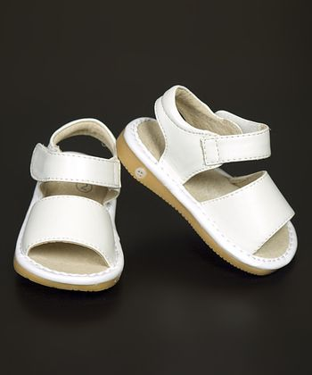 White Leather Squeaker Sandal