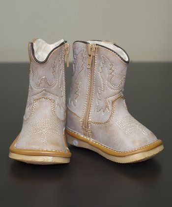 Light Brown Leather Squeaker Cowboy Boot