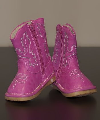 Hot Pink Leather Squeaker Cowboy Boot