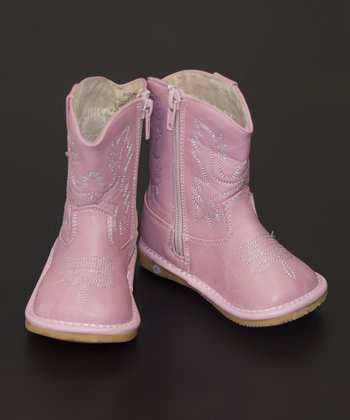 Light Pink Leather Squeaker Cowboy Boot