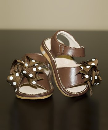 Brown Polka Dot Bow Leather Squeaker Sandal