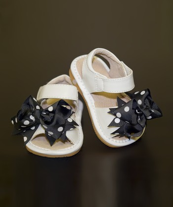 White & Black Polka Dot Bow Leather Squeaker Sandal