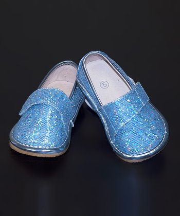 Blue Glitter Leather Squeaker Shoe
