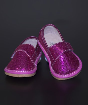 Pink Glitter Leather Squeaker Shoe