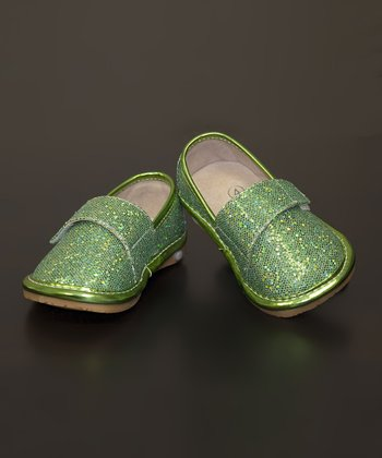 Green Glitter Leather Squeaker Shoe