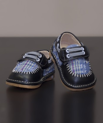 Black Madras Leather Squeaker Shoe