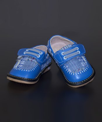 Blue Madras Leather Squeaker Shoe