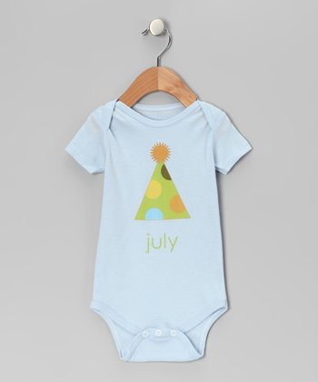 Light Blue 'July' Birthday Hat Bodysuit - Infant