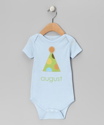 Light Blue 'August' Birthday Hat Bodysuit - Infant