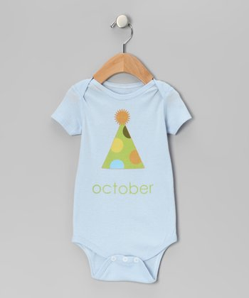 Light Blue 'October' Birthday Hat Bodysuit - Infant