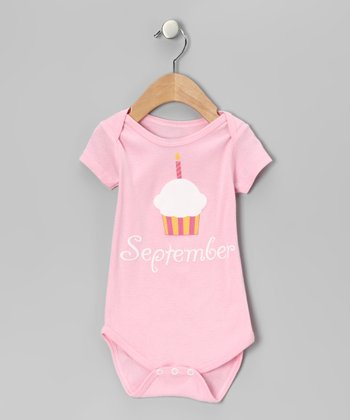 Light Pink 'September' Cupcake Bodysuit - Infant