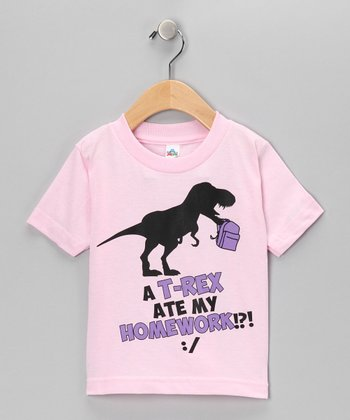 Light Pink T-Rex Ate Homework Tee - Girls