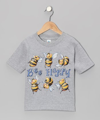 Athletic Heather 'Bee Happy' Tee - Kids