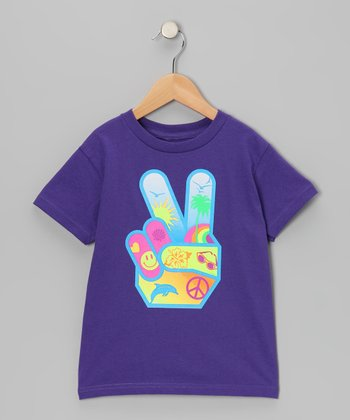Purple Beach Peace Hand Tee - Girls