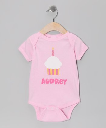 Light Pink Birthday Cupcake Personalized Bodysuit - Infant