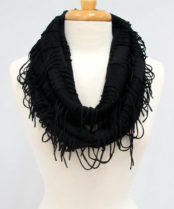 Black Fringe Night on the Town Infinity Scarf