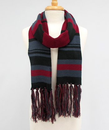 Burgundy & Gray Fringe Hanging Slopeside Scarf
